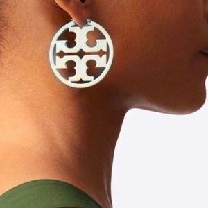 Tory Burch earrings logo silver hoop earrings
